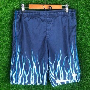Vintage Nike Flames Lightning Swim Trunk Shorts